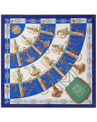 "Hermès ""cliquetis,"" By Julia Abadie Silk Scarf - Blue"