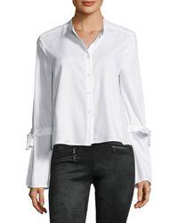 BCBGMAXAZRIA Bell Sleeve Button Shirt - White