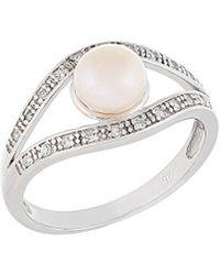Splendid Silver 6-7mm Freshwater Pearl Ring - Metallic