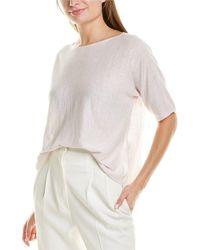 Eileen Fisher Bateau Neck Linen-blend Top - White