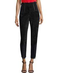 Marissa Webb Velvet & Lace Crop Trouser - Black