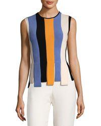 Ferragamo Striped Wool Top - Blue