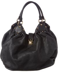 Louis Vuitton Black Mahina Leather Large Hobo