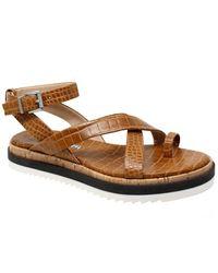 Charles David Chance Croc-embossed Leather Sandal - Brown