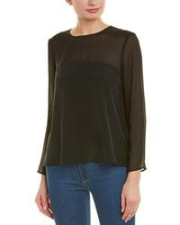 Lavender Brown Contrast Silk Top - Black