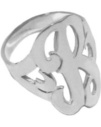 Jane Basch Silver Single Initial Ring (a-z) - Metallic