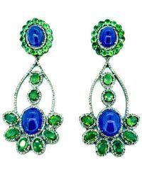 Arthur Marder Fine Jewelry 14k & Silver 11.21 Ct. Tw. Diamond & Gemstone Earrings - Green