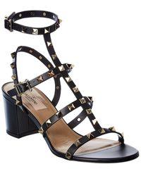 Valentino Valentino Garavani Rockstud Caged 60 Leather Ankle Strap Sandal - Black