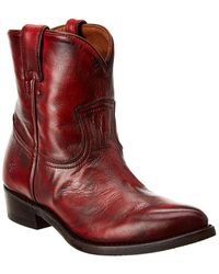 Frye Billy Short Leather Boot - Red