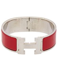 Hermès - Silver-tone & Burgundy Enamel Wide Clic-clac H Bracelet - Lyst