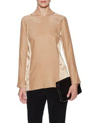Magaschoni - Long Sleeve Contrast Blouse - Lyst