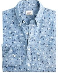 J.Crew Ditsy Branch Chambray Shirt - Blue