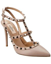Valentino - Rockstud Caged 100 Patent Ankle Strap Pump - Lyst