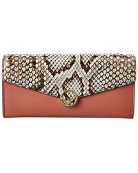 Fendi Leather & Snakeskin Continental Wallet - Pink