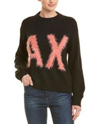 Armani Exchange Dropped-shoulder Wool-blend Sweater - Black