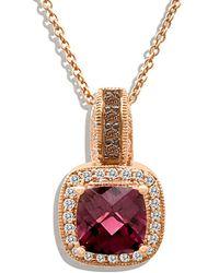 Le Vian ? 14k Rose Gold 2.03 Ct. Tw. Chocolate & White Diamond & Rhodolite Necklace - Multicolour