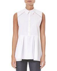 Carolina Herrera Stretch Sleeveless Peplum Shirt - White
