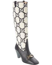 Gucci Zumi GG Tweed & Leather Knee Boot - Black