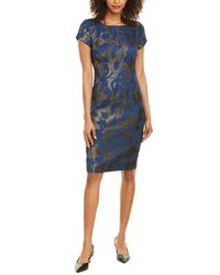 Adrianna Papell Metallic Sheath Dress - Blue