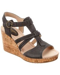 Sperry Top-Sider Dawn Day Leather Wedge Sandal - Black