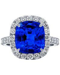 Diana M. Jewels . Fine Jewellery Platinum 6.74 Ct. Tw. Diamond & Sapphire Ring - Blue