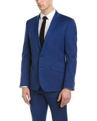 Kenneth Cole Reaction Skinny Fit Suit With Flat Front Pant - Blue