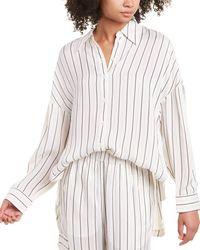 Tibi Anna Stripe Oversized Shirt - White