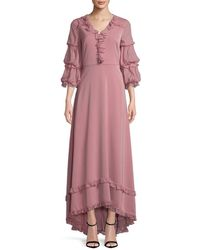 Mikael Aghal Blouson Sleeve Gown - Pink