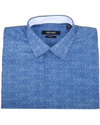 Nine West Slim Fit Dress Shirt - Blue