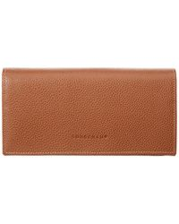 Longchamp Le Foulonne Leather Continental Wallet - Brown