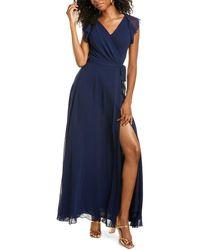Diane von Furstenberg Eldridge Flutter Sleeve Maxi Dress - Blue