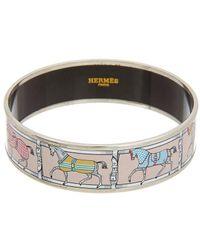 Hermès Palladium Printed Enamel Wide Bangle Bracelet - Pink