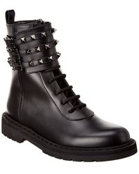 Valentino Rockstud Leather Combat Boot - Black