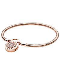 PANDORA Rose Charm Carrier Moments 14k Rose Gold Pave Snake Chain Bracelet - Metallic