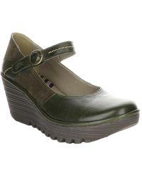 Fly London Yuko Leather Wedge Sandal - Green