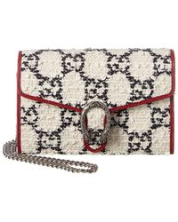 Gucci Dionysus Mini Tweed & Leather Wallet On Chain - Multicolor