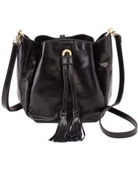 Hobo Puck Leather Drawstring Bag - Black
