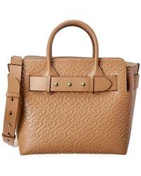 Burberry Small Triple Stud Belt Bag Monogram Leather Tote - Brown