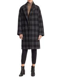 Vince Tonal Plaid Wool-blend Car Coat - Black