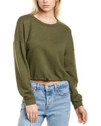 Bobi Cropped Shirred Sweatshirt - Green