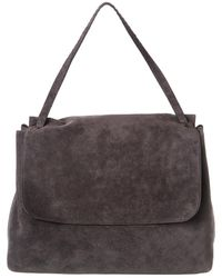 The Row Top Handle 14 Suede Shoulder Bag - Grey