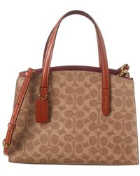 COACH Charlie 28 Signature Leather Carryall Tote - Brown