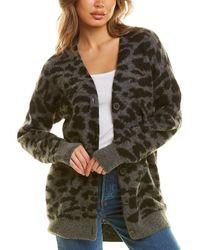 Chrldr Donna Leopard Alpaca & Wool-blend Cardigan - Grey