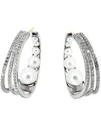 Arthur Marder Fine Jewelry 14k & Silver 2.23 Ct. Tw. Diamond 4mm-10mm Pearl Earrings - Metallic