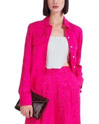 STAUD Long Sleeve Alyssa Top - Pink
