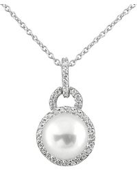 Splendid - Rhodium Plated Silver 9-9.5mm Freshwater Pearl Necklace - Lyst