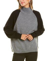 Monrow Mock Neck Raglan Cashmere Sweater - Grey