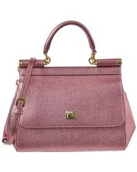 Dolce & Gabbana - Sicily Small Metallic Leather Tote - Lyst