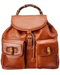 Gucci - Brown Leather Large Bamboo Backpack - Lyst