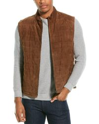Corneliani Silk, Cashmere, And Linen-lined Suede Vest - Brown